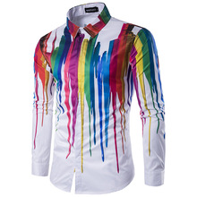 Geek Psychedelic Splash-ink Printed Shirt Men 2017 New Brand Long Sleeve Chemise Homme Casual Slim Fit Cotton Mens Dress Shirts