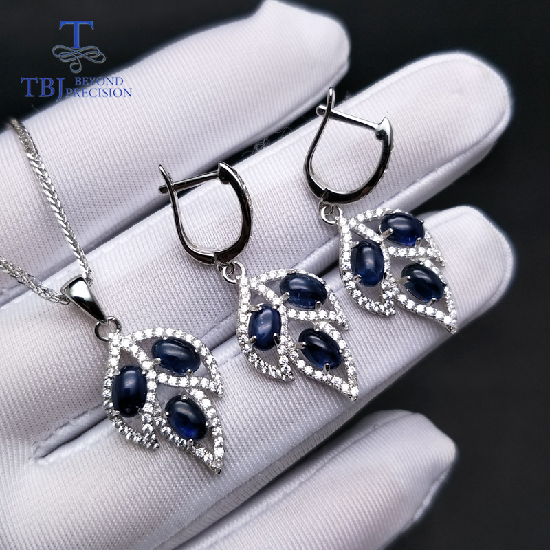 TBJ,Tree leaf jewelry set with blue sapphire clasp earring and pendant in S925 silver elegant jewelry for women ladies as gift chic handpainted flower and leaf pattern tassel pendant purplish blue scarf for women