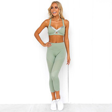 Pure Color Stitching Yoga Tight Suit Sports Bra Wear Running Workout Set Jogging Femme Suits For Gym 2019 Fitness Clothing Women