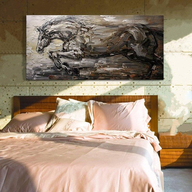 Dipinto a mano Moderno Coltello Dipinti Ad Olio Animale su Tela di Grandi Dimensioni Pittura di Parete di Arte Astratto Cavallo Pictures Home Decorativos Cuadros