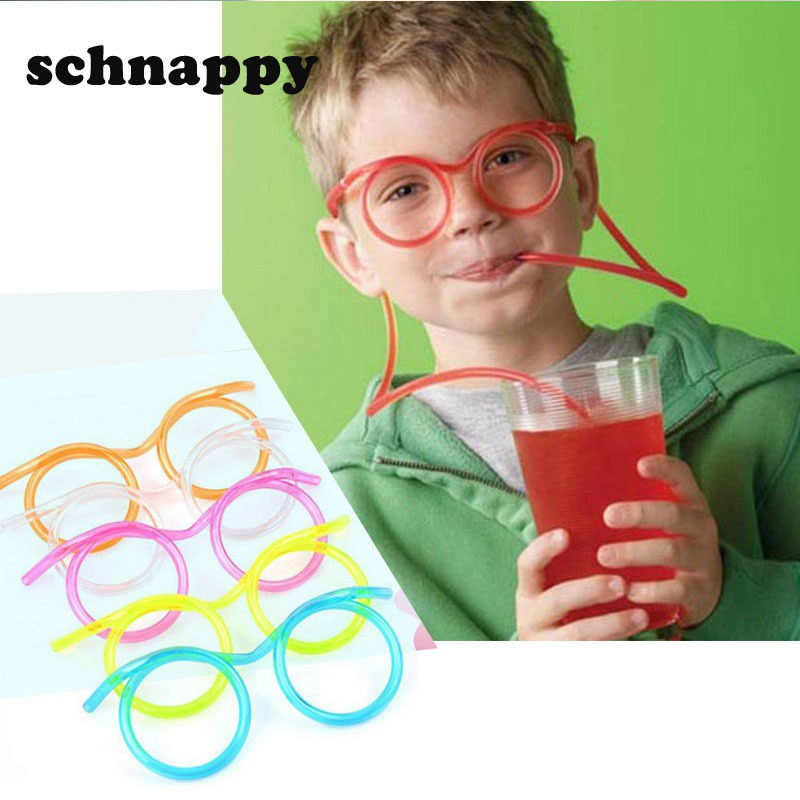 Fun soft plastic straw funny glasses flexible drinking toys party joke tube tools kids baby birthday toys