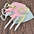 3 stücke Keramik Messer Set Obst Peeling Hobel Messer Schäl Messer Hacken Block Haushalt Rosa Grün Blau Küche Zubehör-in Messer-Sets aus Heim und Garten bei
