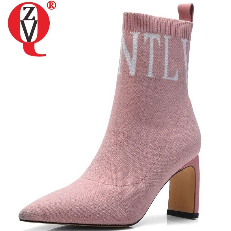 ZVQ stretch tricot cheville chaussette bottes mode femmes bout pointu sans lacet chaussures de fête d'hiver sexy étrange talons hauts bottes de mode