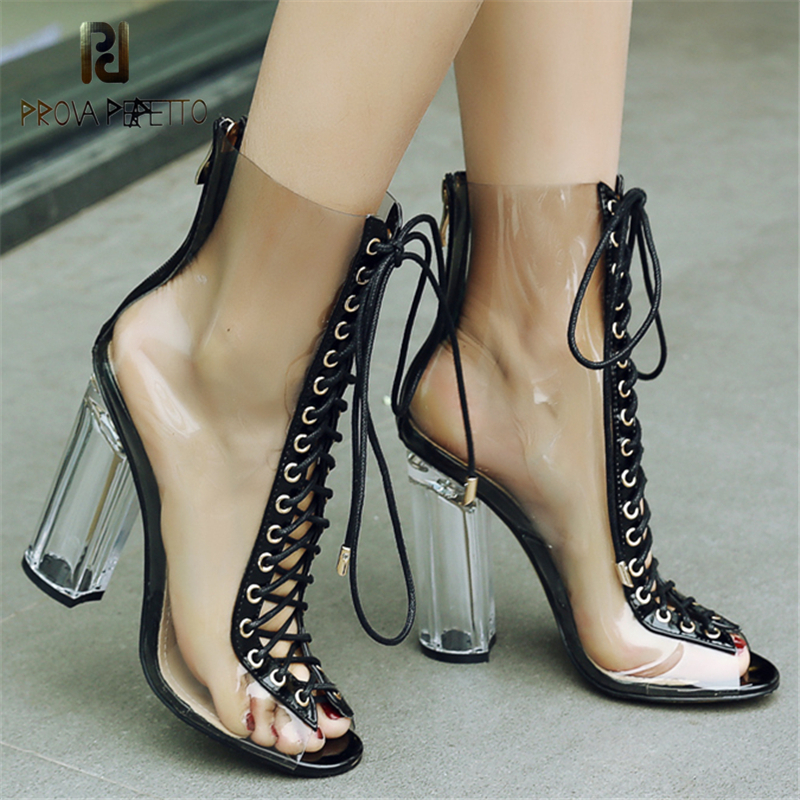 Prova Perfetto Clear Transparent High Heel Boots Peep Toe Ankle Lace Heels Shoes Women Sexy Zip Chunky High Heels Women Boots women ankle boots platform chunky heels pointed toe black women high heels boots sexy laides party boots shoes heels
