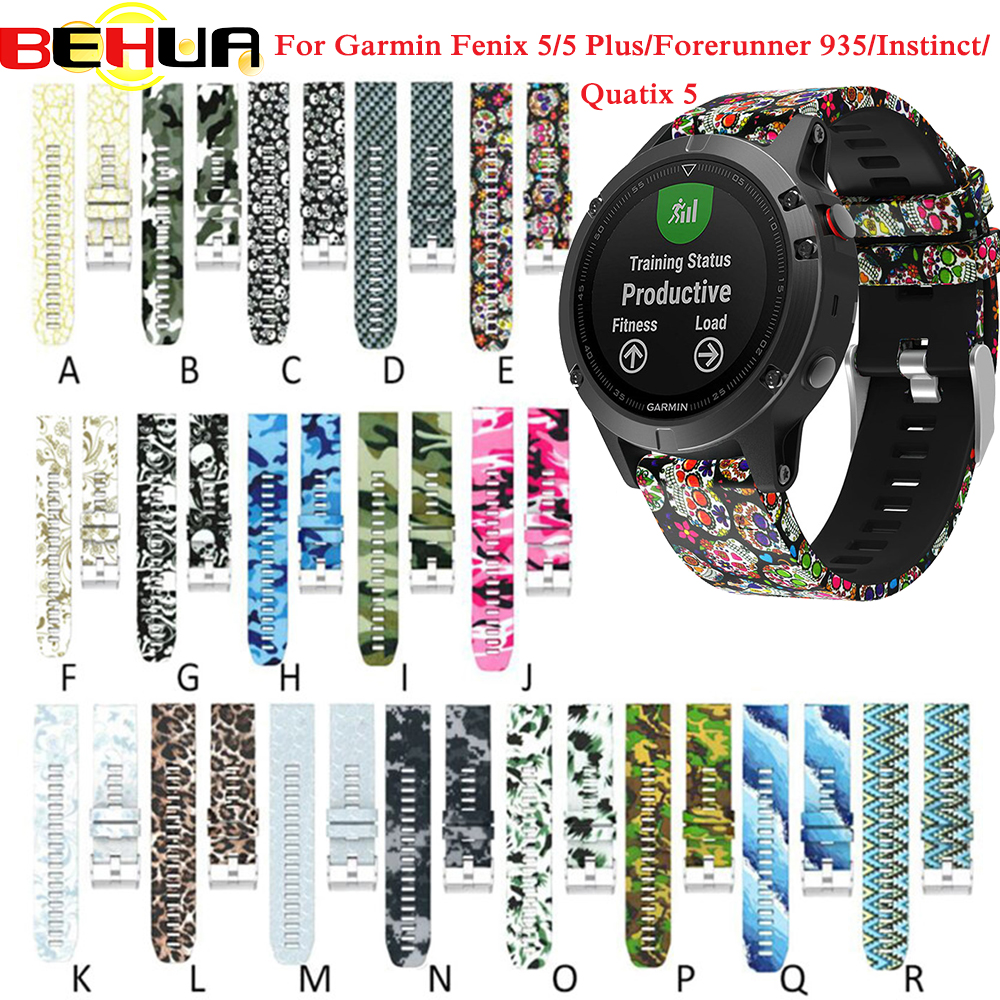 22mm Wrist Band Strap For Garmin Fenix 5 Forerunner 935 GPS Smart Watch Printed Sports Silicone Watchband With Quick Release
