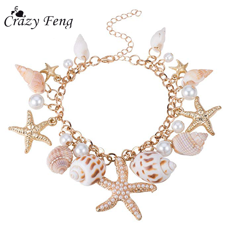 Starfish Bracelet Jewelery Bohemian-Chain Sea-Shell Beach Women Summer Fashion for Boho