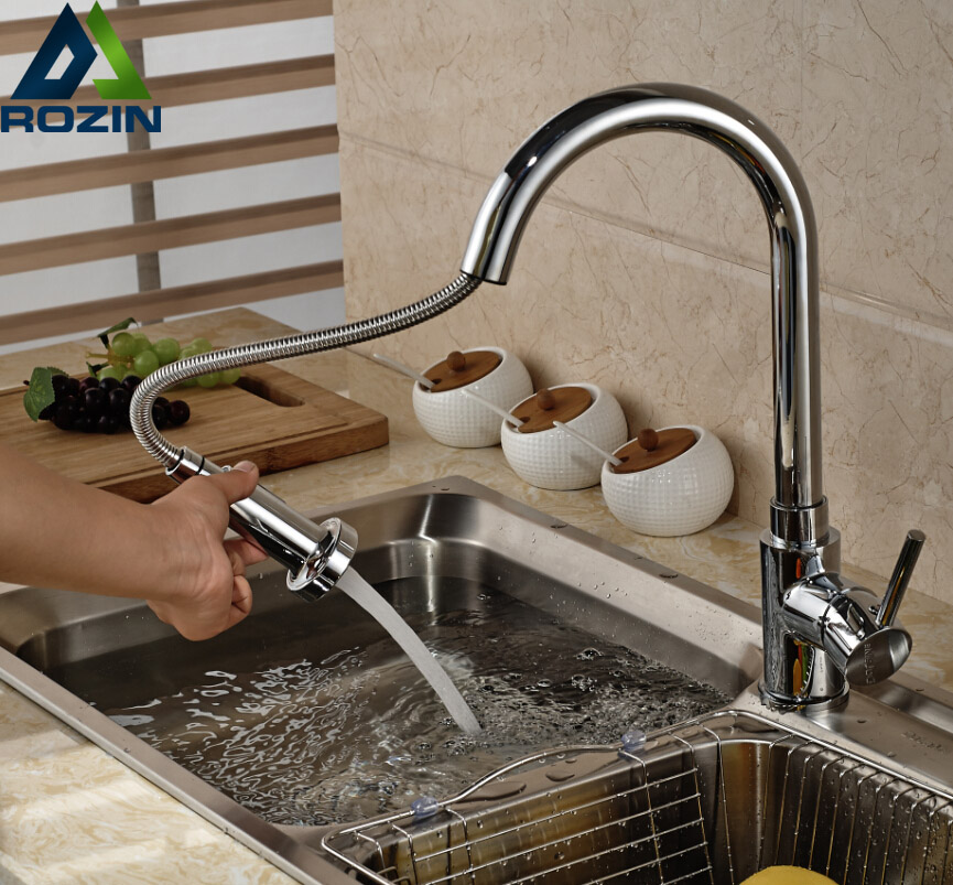 Deck Mount Kitchen Faucet Pull Out Spout Swivel Vessel Sink Tap Chrome Finish with Hot Cold