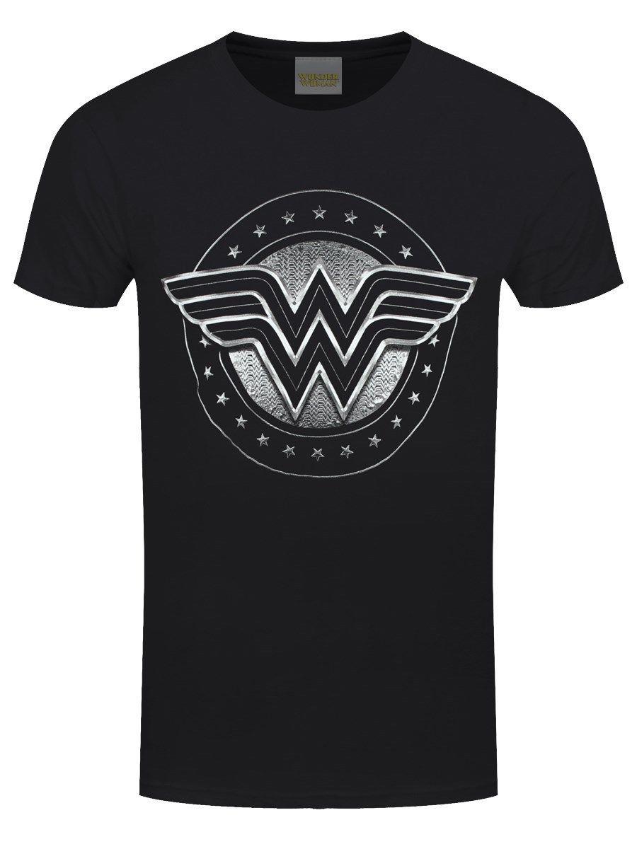 Wonder Woman хром логотип Для мужчин; черная футболка серый Стиль