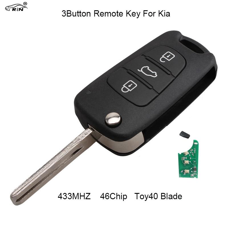 RIN 3 Tasten 433 mhz Folding flip Remote Key Fob für Kia Rio Ceed Cee CeedPro Picanto Sportage mit ID46 Chip TOY40 Klinge