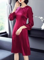 High end pure color stretch satin silk dress simple and slim silk A line girl. 2018 new large size female.