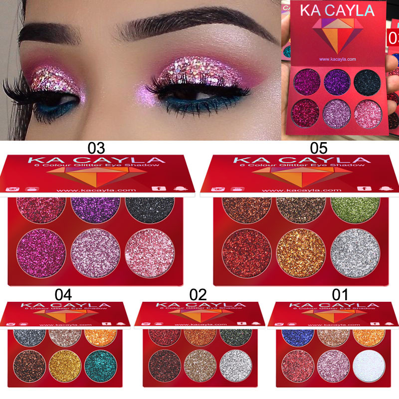 KA CAYLA Professional 6 Colors Glitter Eye Shadow Diamond Sequined Eyeshadow Palette Matt Waterproof Makeup Cosmetic Set TSLM2