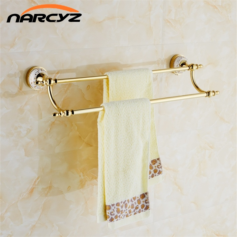 Wall Mounted Gold Towel Bars Bathroom Double Towel Rod Bathroom Accessories Free Shipping Wholesale And Retail 9093K цена и фото