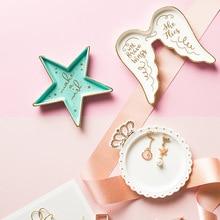 Керамический лоток для хранения десертов с бантиком и сердечками, морская звезда, ювелирное блюдо с позолоченными буквами, маленькое блюдо, ожерелье, тарелка для хранения, лоток