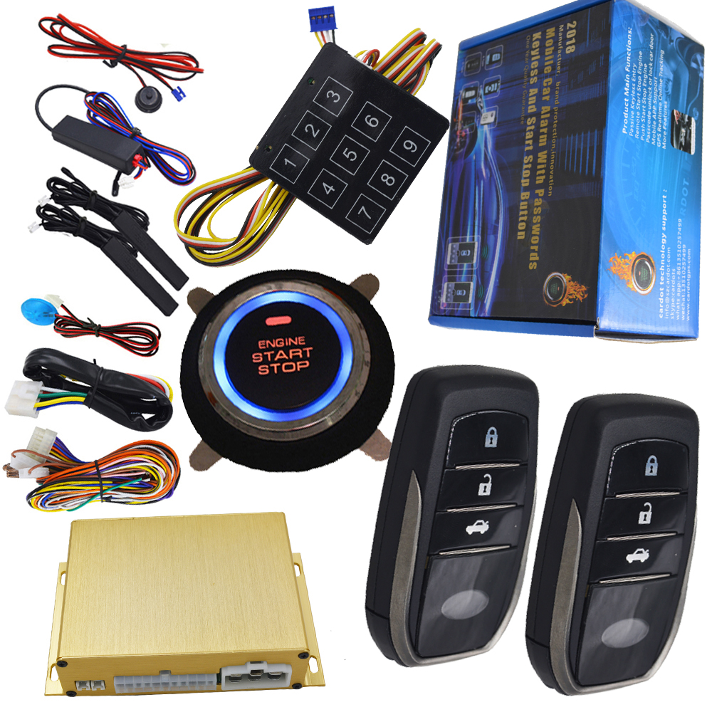 automotive car anti-theft device rfid smart key entry and start stop button engine with shock sensor alarm and window up output smart haa flip key pke car alarm system push start remote start stop engine auto central door lock with shock sensor