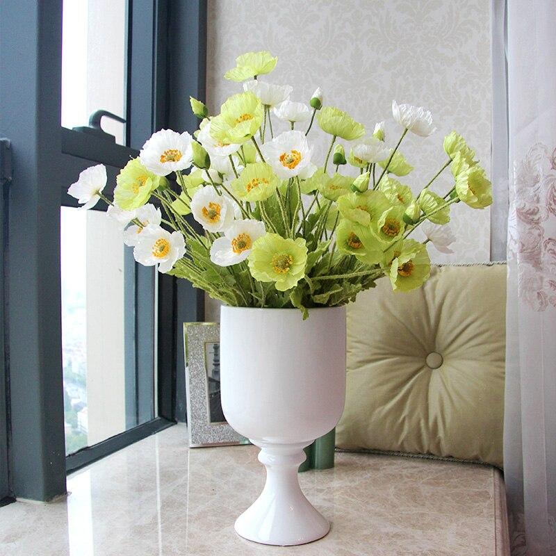 Artificial flowers poppy silk flowers for wedding for Artificial flowers for home decoration online