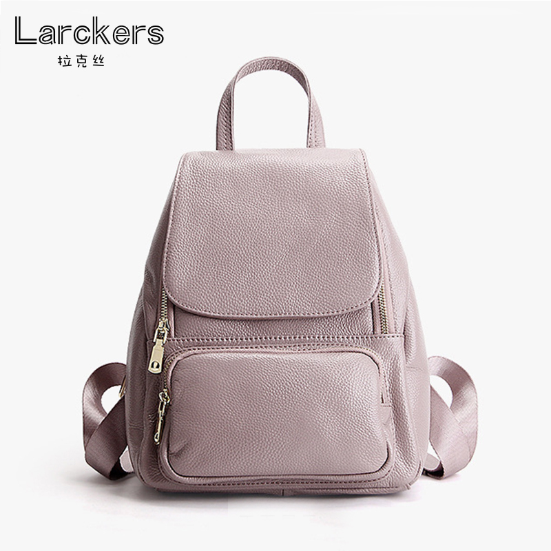 Fashion summer color 100% genuine leather casual women backpack lichee pattern taro color women brief laptop bag girl satchel casual women s satchel with color block and dots pattern design