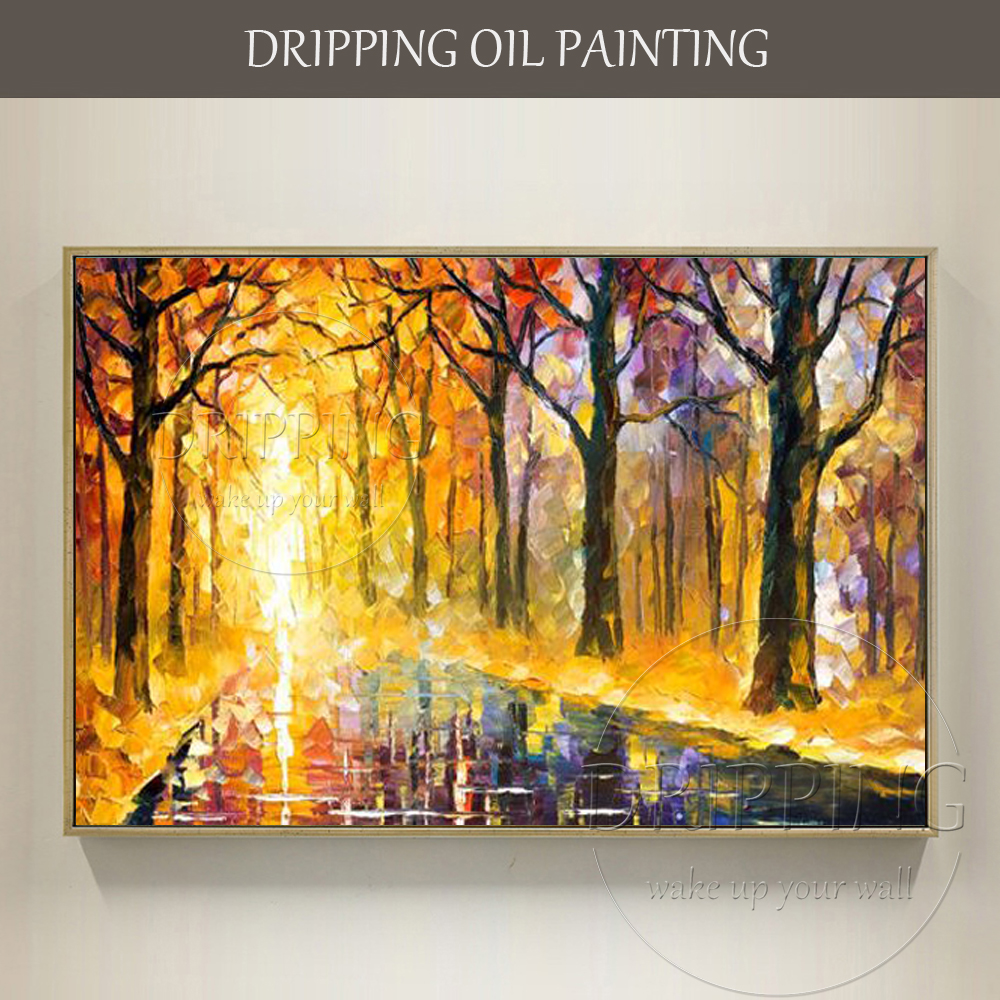 Us 39 5 50 Off Hand Painted High Quality Modern Abstract Landscape Oil Painting On Canvas Bright Colors Golden Road Oil Painting For Wall Decor In