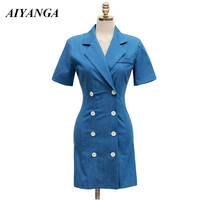 AIYANGA OL Women Dress 2018 Summer Notched Dresses Short Sleeve Slim package Hip Pencil Short Dress Fashion Double breasted