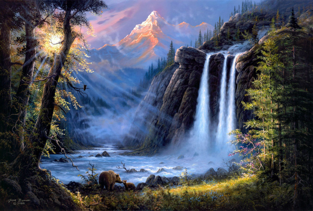 Home Art Wall Decor Landscape River Waterfall Oil Painting Printed On Canvas