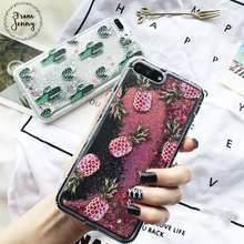 From Jenny Liquid Quicksand Case for Apple iPhone6s 6 7 7plus 6s+ 6splus glitter pineapple print pink Capas Covers for iphone7