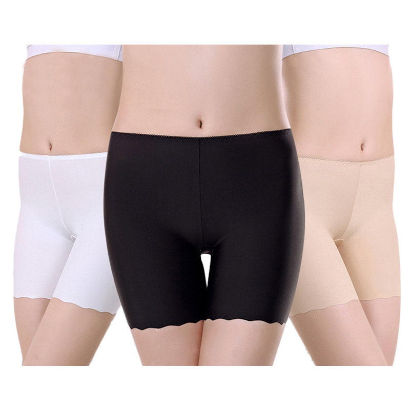 1pc Women Ice Silk Seamless Thin Bottoming Summer Anti Emptied   Leggings   Lace Three Points Insurance Lingerie
