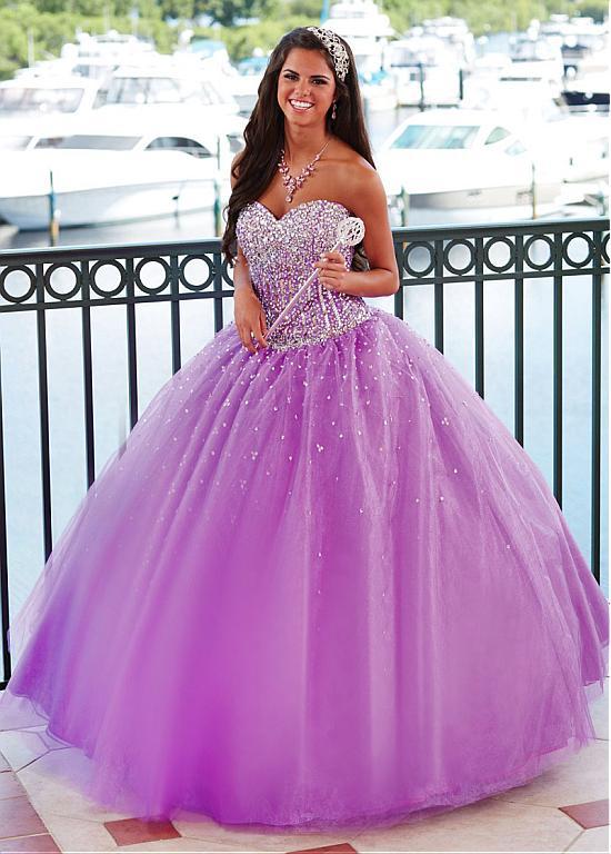 Nouveau 2017 lilas perlé bretelles robe de bal robes de bal longue princesse Corset brillant cristal robe de soirée vestido de festa