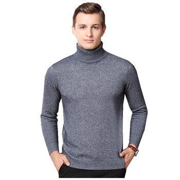 Brand Men's Cashmere Sweater 2019 New High Collar Men's Sweater Solid Color Velvet Long-Sleeved Winter Shirt Sweater