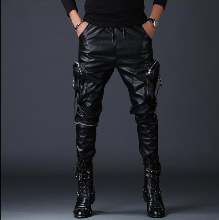 personality fashion motorcycle faux leather pants mens feet pants Windproof pu trousers for men Multi pocket pantalon homme in Harem Pants from Men 39 s Clothing