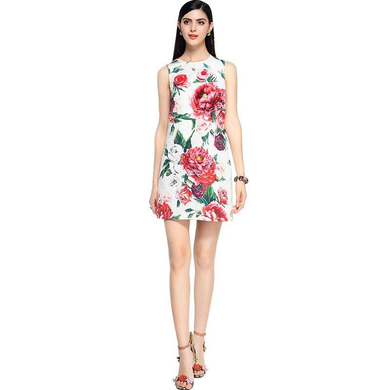 Haute Manches Designer Robes Femmes Floral Élégant De Nouvelle Luxe Mode Impression Chaude Robe Sans 2018 Qualité Beige ligne A Piste nv8qTB0xq