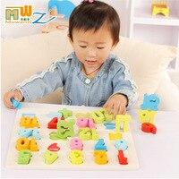 Mwz детские развивающие Игрушечные лошадки для детей 2 см Толщина хорошее качество деревянный 0-9/1-20 номера английские буквы головоломки цвет ...
