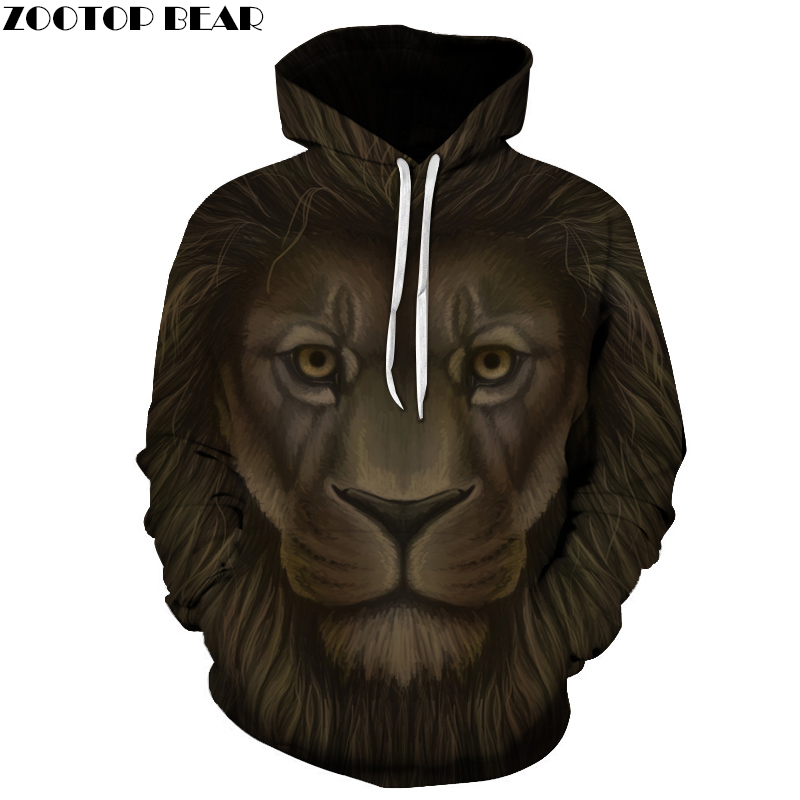 Animal Hoodies Lion 3D Sweatshirts 2017 Men Women Tracksuits Unisex Outwear Hooded Pocket Jackt Causal Brand Quality ZOOTOP BEAR
