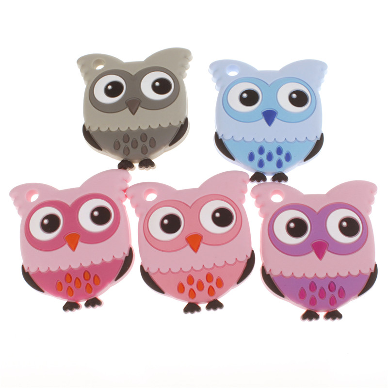 Owl Silicone Teether 4PCS /lot Cute Baby Teether Diy Charms Nurse Jewelry Teething Toy Teething Necklace Silicone Charm