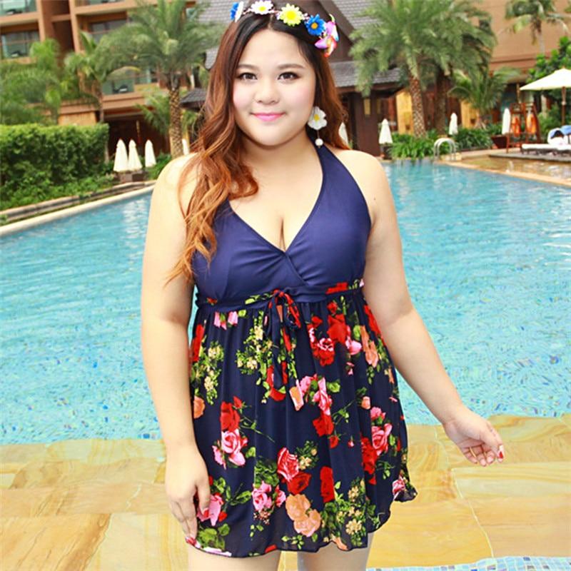 4XL~7XL Plus Size Swimwear One Piece Swimsuit Women 2017 Hot Sale Swim Suit Bodysuit Fat Beachwear Retro Vintage Bathing Suit plus size scalloped backless one piece swimsuit