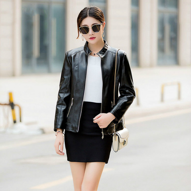 2018 New Fashion Women's Solid Color Jacket European   Leather   Jacket Casual Slim Faux   Leather   Motorcycle Coat Casacas Para Mujer