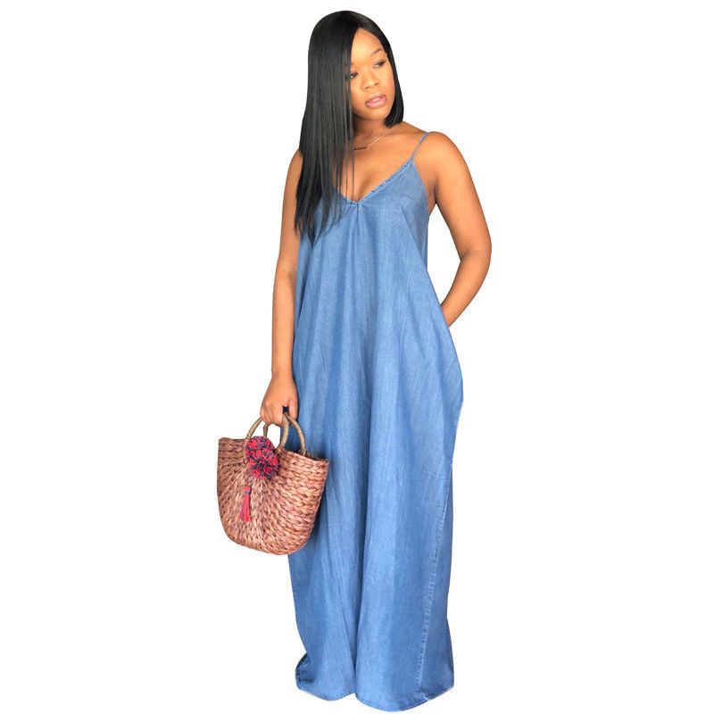US $5.74 21% OFF Summer Women Lady Boho Backelss Spaghetti Strap Long Denim  Maxi Dress Women Loose Jean Dresses Blue Plus Size S 3XL-in Dresses from ...