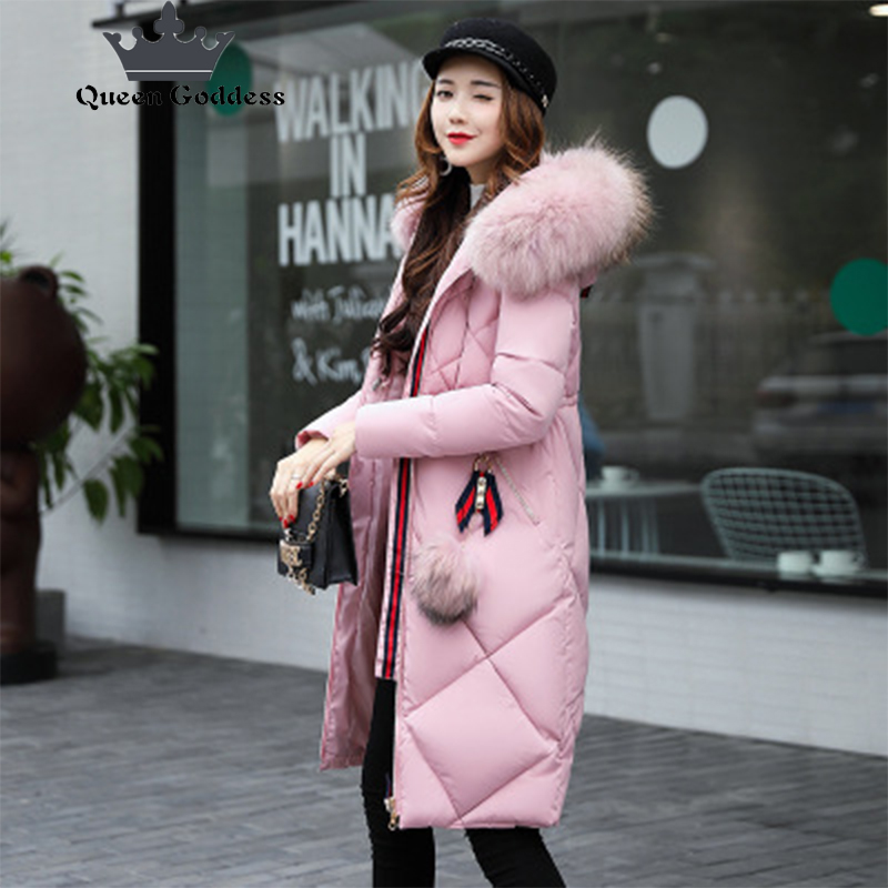 2017 QueenGoddess new slim style winter jacket women cotton coat Thicker parkas artificial fur collar keep warm collection brand factory outlets 2014 new winter in europe and america women british style stitching cotton quilted jacket short parkas coat