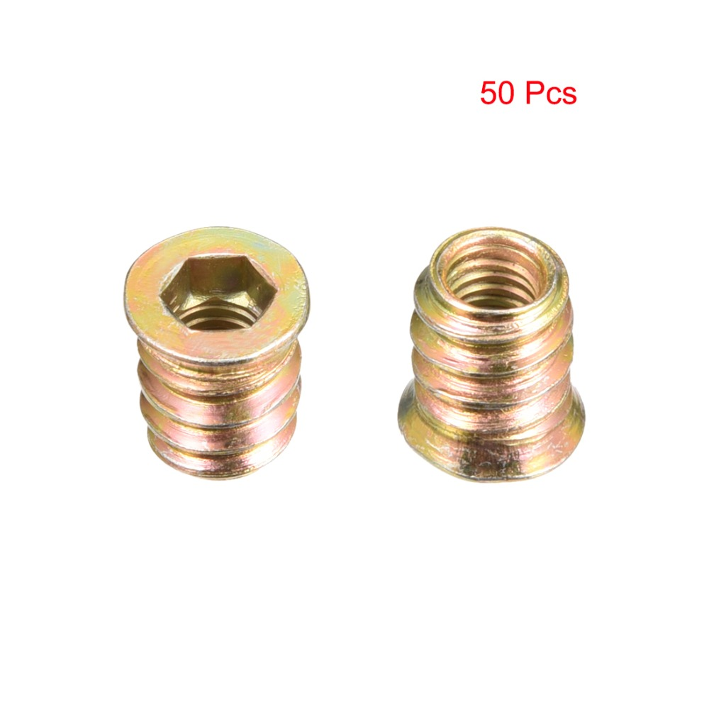 Uxcell 50pcs 6 Size M6 M10 Threaded Insert Nuts Interface Hex Socket Wooden Furniture Accessories Screws Carbon Steel