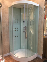 900X900X2200mm Sector Shaped Bathroom Steam Shower Enclosure Wall Corner Wet Sauna Cabin Thermostatic Faucet 8055