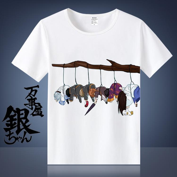 Anime GINTAMA Sakata Gintoki Cos Cosplay Costume T-shirt Round Collar Cotton