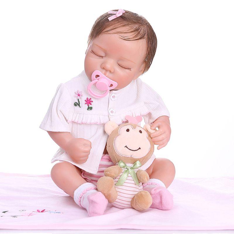 48cm Reborn poupée réaliste plein Silicone vinyle nouveau-né dormir bébés singe jouet vêtements réaliste fait main cadeau
