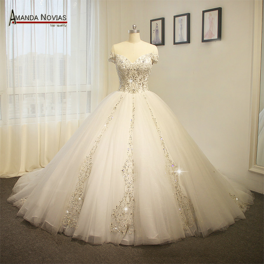 Amanda Novias Real Work Beading Embroidery Big Train Wedding Dress 2017 In Wedding Dresses From