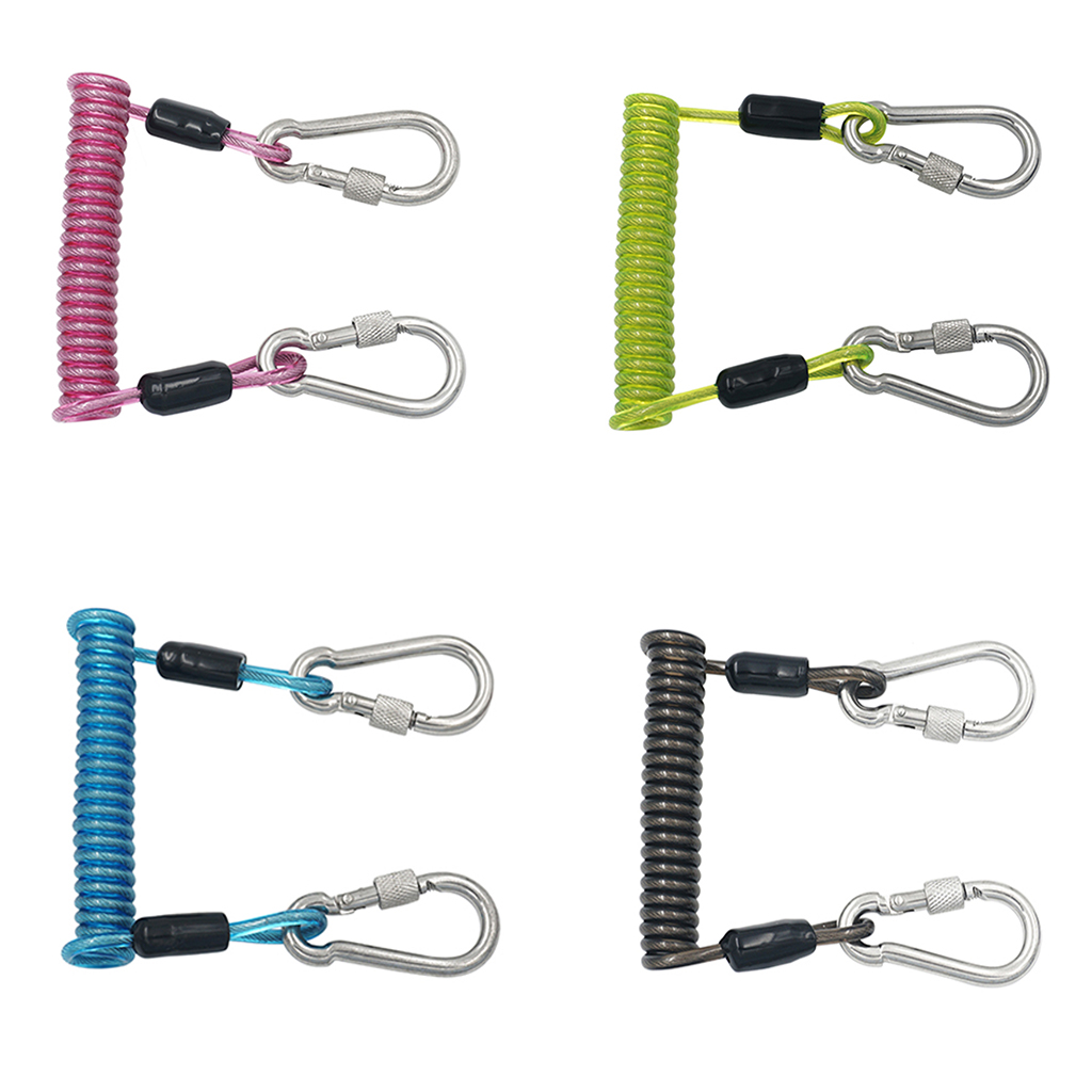 Stainless Steel Spiral Coil Lanyard Scuba Diving Underwater Emergency Carabiner Accessories For Diving Outdoor Climbing Colorful
