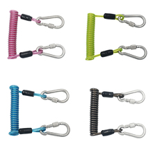 Stainless Steel Spiral Coil Lanyard Scuba Diving Underwater Emergency Carabiner Accessories for Outdoor Climbing Colorful