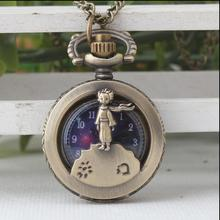Estrela príncipe de antiguidades Bronze Moda quartzo Oco para fora a Colar relógios de bolso presente