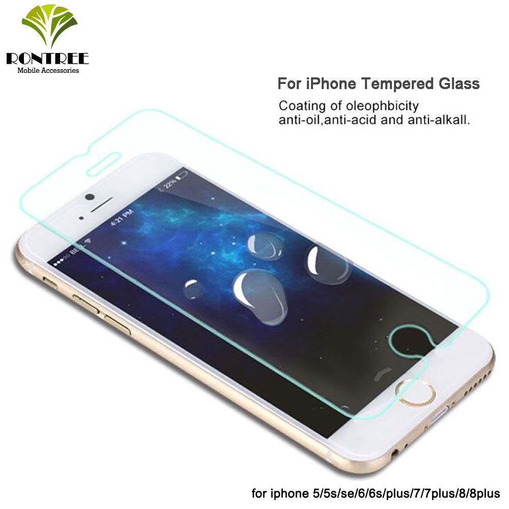 RONTREE Tempered Glass For IPhone 6s 6 7 8 Plus Accessories Protective Glass For IPhone 5s SE X XS XR 11 Pro MAX Screen Protect
