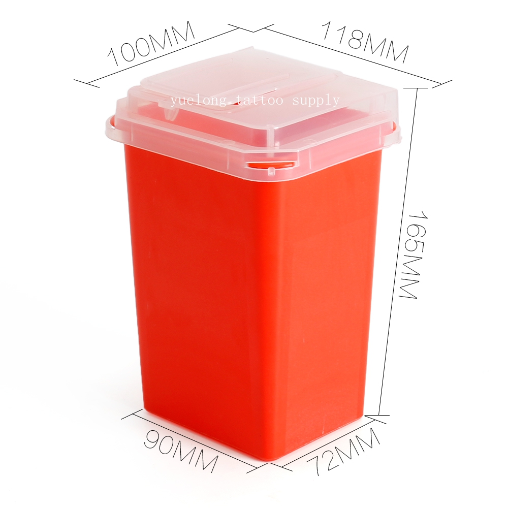 Plastic 1L Red Sharps Containers For Tattoo Artists Newest Tattoo Sharps Container Medical Disposal Needle Tattoo Supplier