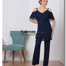 Chiffon Dark Navy Mother of the bride pant suits Summer wedding pants dress  Custom Plus size 6850f125d