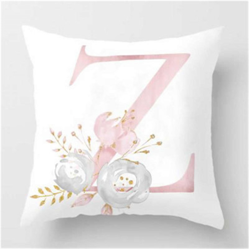 Active Components Original 45x45cm Kids Room Decoration Letter Pillow English Alphabet Polyester Cushion Cover For Sofa Home Decoration Flower Pillowcase
