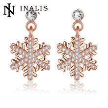 Classic Swarovski Crystal Snowflake Bijoux Statement Drop Earrings For Women GoldPlated Pendientes Mujer E1033 B