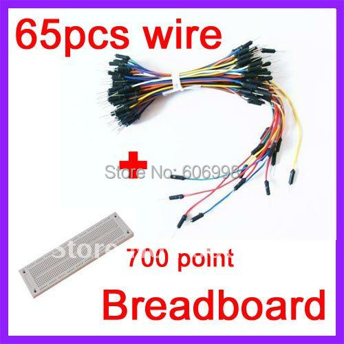 1set/lot  700 Holes Solderless PCB BreadBoard + 65pcs Jump Wires